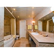 Комплект потолка для ванной комнаты, белый с раскладкой золото (1,7х1,7)